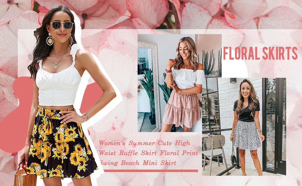 Hibluco Women Summer Ruffle Floral Skirt