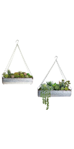 Galvanized metal wall hanging trough flower planter succulent outdoor planter farmhouse wall shelves