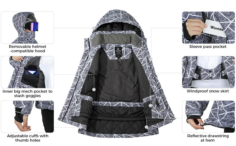 Wantdo Women's Print Ski Jacket
