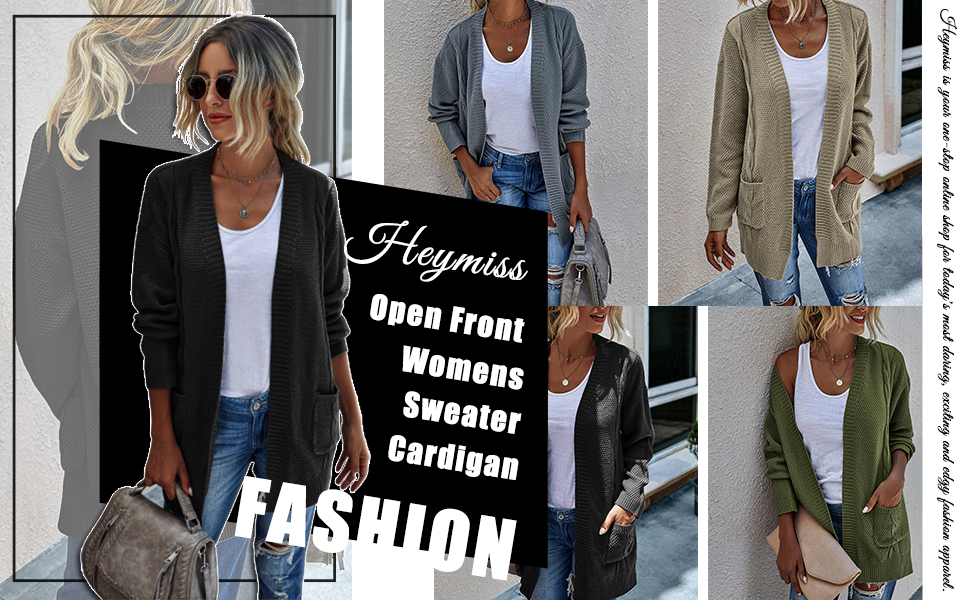 Heymiss Long Cardigans for Women Button Down Solid Color Knit Ribbed Cardigans Outwear