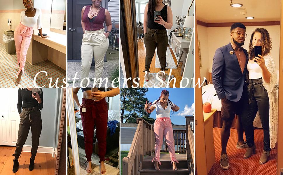 stretch elestic hight waist pants for women
