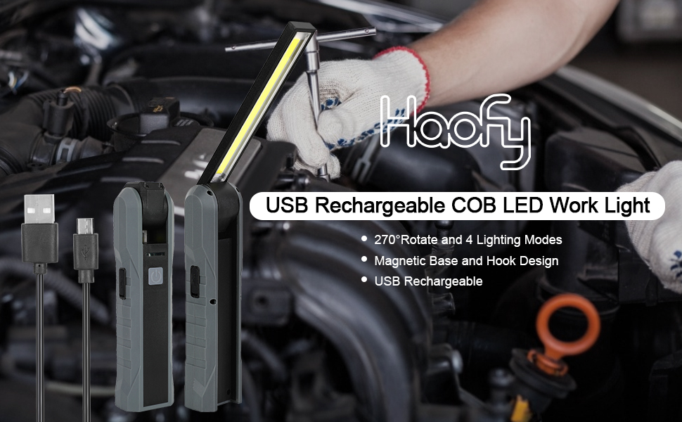 Haofy LED Work light Rechargeable COB LED Inspection Lamp Portable Work Light with Magnetic Base and Hanging Hook for Car Repairing Household Workshop Automobile Camping Emergency Use, 4 Modes