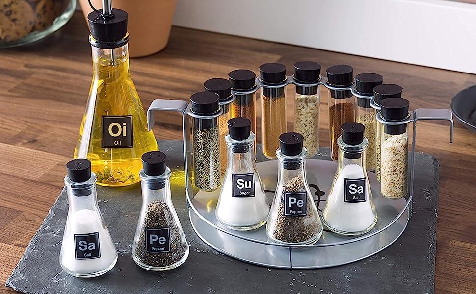Spice rack set, salt and pepper shaker, oil vinegar dispenser, science spice set, chem spice set