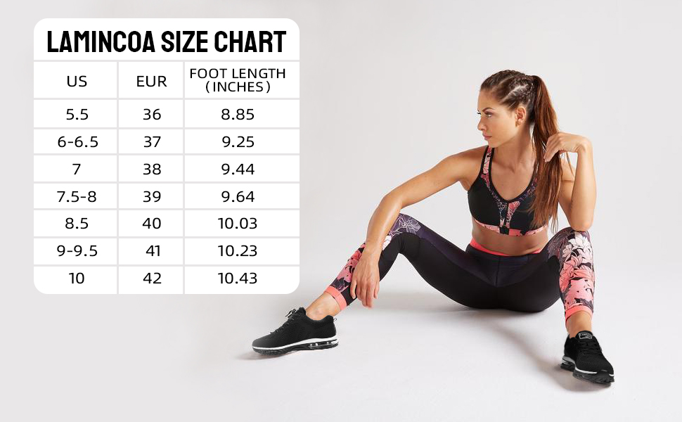 womens athletic shoes size chart