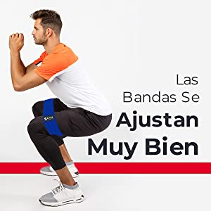 Booty bands for men being used by man doing squat