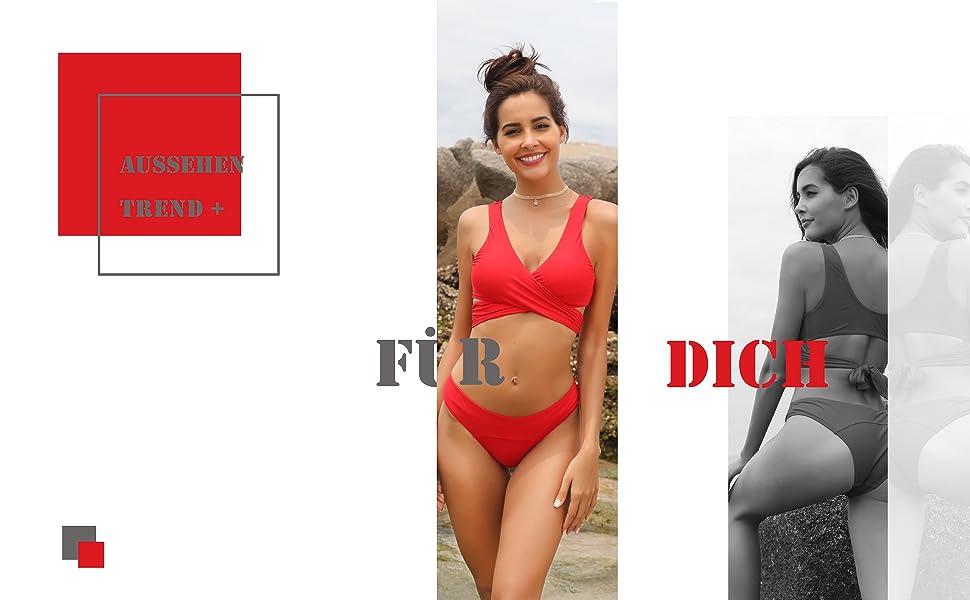 SHEKINI Damen Bikini Set Triangel BH Bikini R/ückenfrei Bademode Push Up High Cut Einlagen Oberteil Mit Schwarz Bikinihosen Brazilian Style
