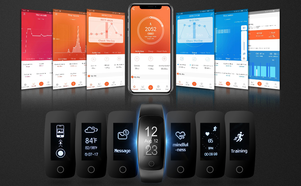 Heart Rate Monitor, Sleep Monitor, Step Counting, SNS notifications