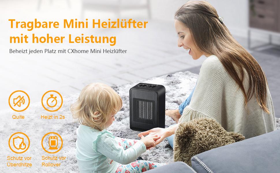 Elektro-Heizungf/ür Badezimmer B/üro 3 Modi CXhome Mini Heizl/üfter Energiesparend Keramik mit 2s Schnellheizung Schutz vor Kippen und /Überhitzungsschutz Wohnbereich