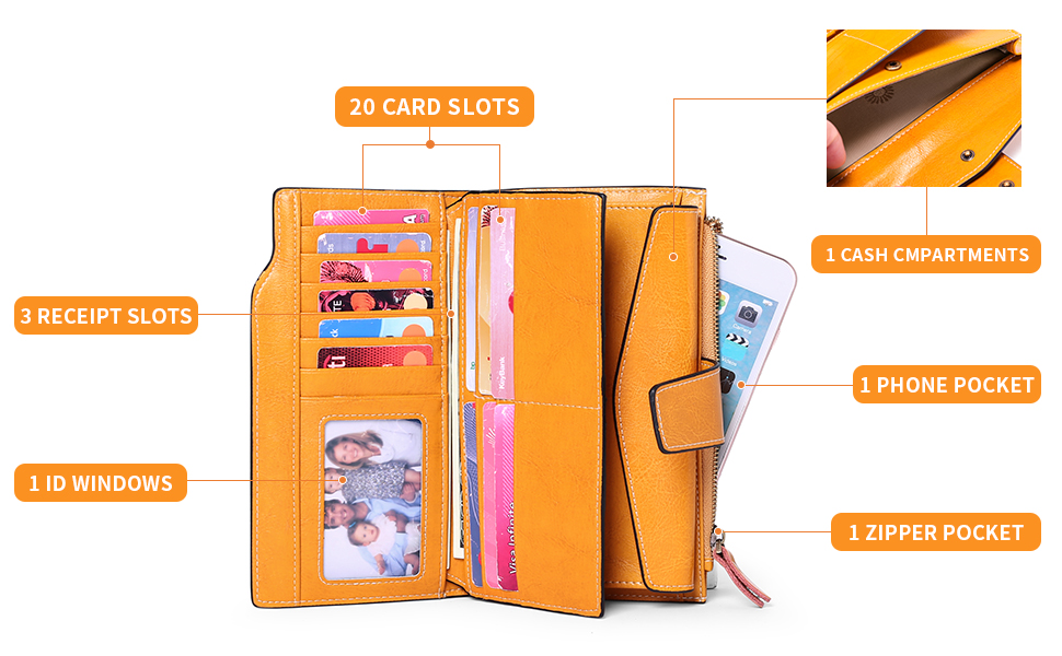 Long Trifold Card Holder Wallets