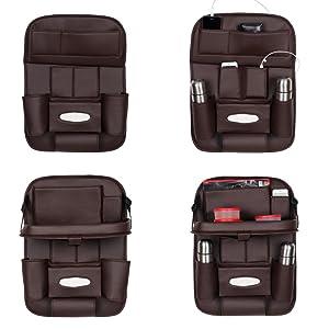 3D Car Auto Seat Back Multi Pocket Storage Bag Organizer with Car Meal Tray