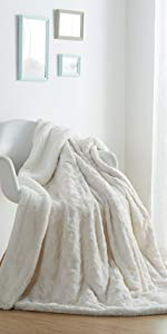 solid pure snowy white luxury roses throw blanket faux fur fleece sherpa cozy warm winter time gift