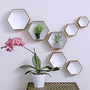 honeycomb wooden shelf, wall shelve set, decorative shelves wall, decorative wall shelves