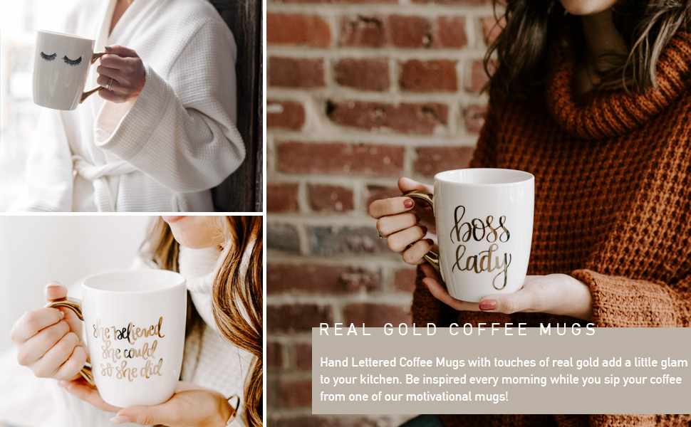 sweet water decor gold coffee mugs hand lettered motivational quotes inspirational boss lady
