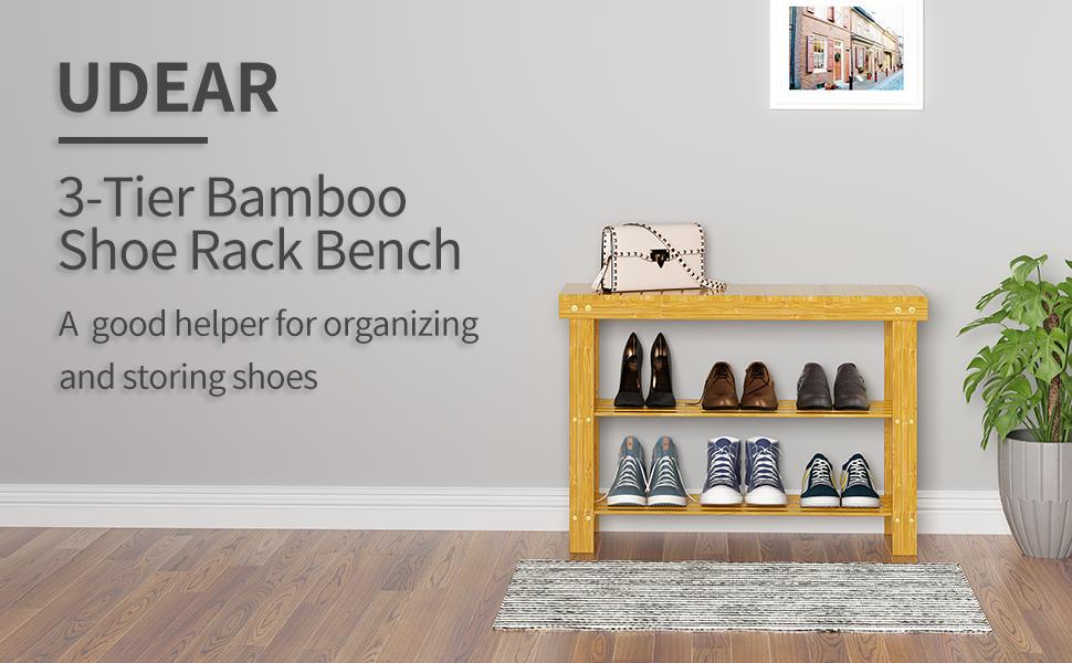 UDEAR 3-Tier Bamboo Shoe Rack Bench