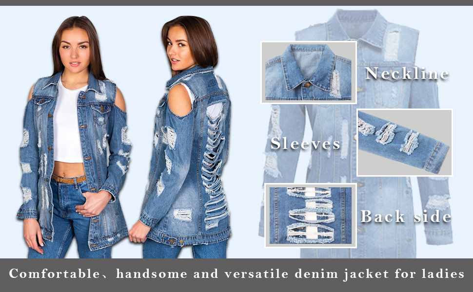 Ripped Denim Jacket For Women