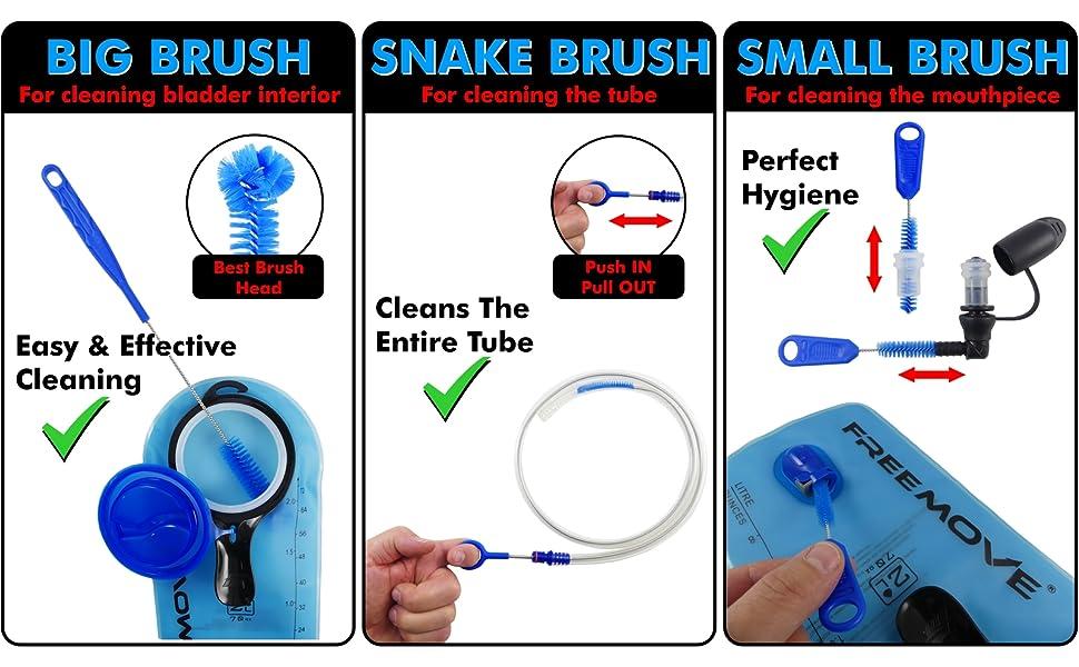 Garneck Water Bag Brushes Kit Water Reservoir Cleaning Brushes Universal for Hydration Bag Reservoir Hydration Pack Bladder Tool