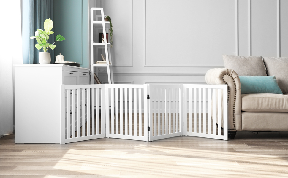 Expands Up to 80 Wide WELLAND Wooden Freestanding Pet Gate Foldable Indoor Dog Gate Puppy Safety Fence White 4 Panel 24 Inch Step Over Fence