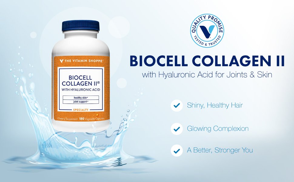 Vitamin Shoppe Biocell Collagen II with Hyaluronic Acid, Supports Skin, Cartilage, and Joint Health