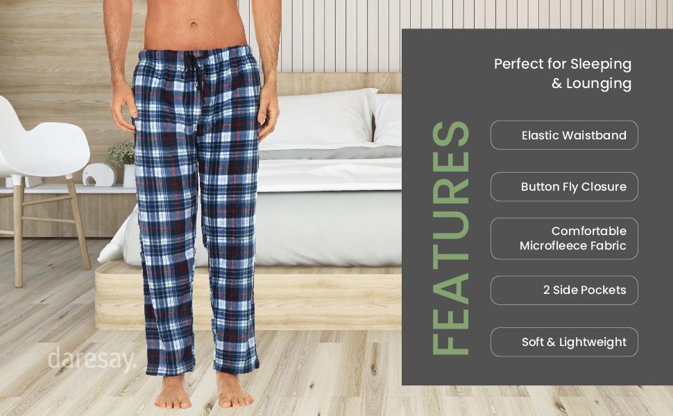 daresay mens microfleece pajama lounge pants features elastic waistband button fly closure