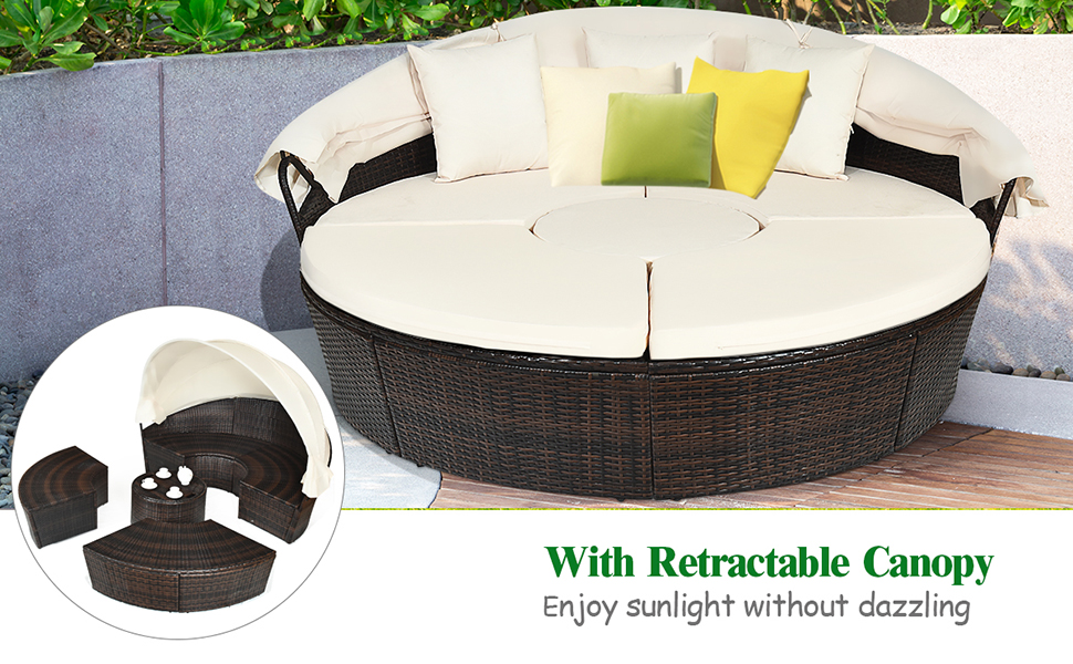 patio round daybed with canopy