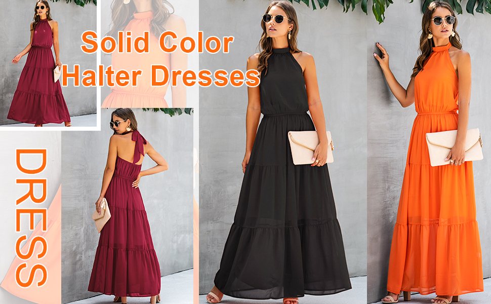 Halter Neck Long Chiffon Dress for Party dresses for women casual summer maxi