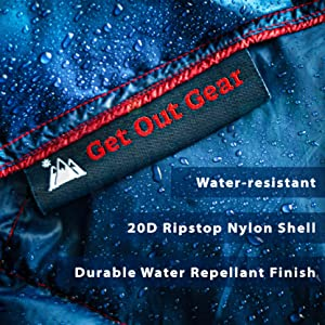 water-resistant 20D ripstop nylon shell DWR durable water repellant finish