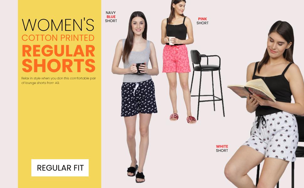 Women's Cotton Printed Regular Shorts - Pack of 3 (Navy Blue, Grey, Pink SPN-REE