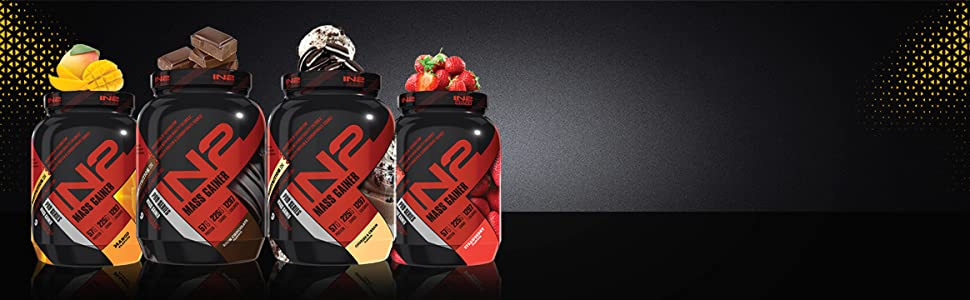 IN2 Mass Gainer flavours, Mango, Rich Chocolate, strawberry, cookies and cream, weight gainer, gain