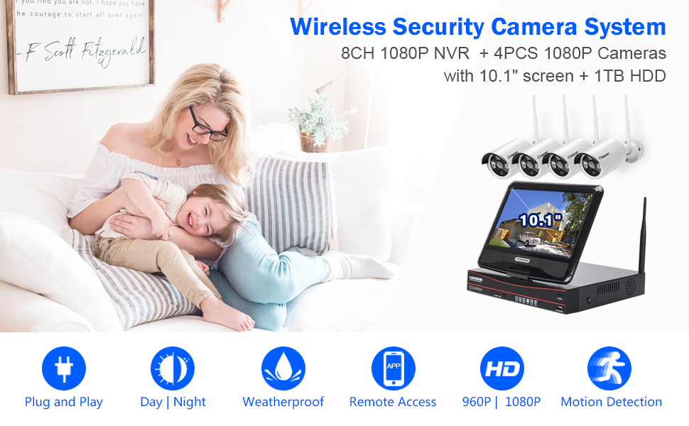 wireless surveillance camera systems  [8CH, Expandable] All in one with 10.1″ Monitor Wireless Security Camera System, Cromorc Home Business CCTV Surveillance 8CH 1080P NVR, 4pcs 1080P Indoor Outdoor Night Vision Camera, 1TB Hard Drive 6809a75b 31d5 4f01 94e9 18a92e36973a