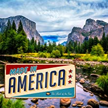 Made in America stylized licence plate over yosemite