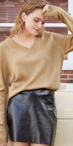Suéter Punto Mujer V Cuello Camisas Manga Larga