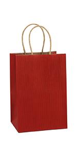 "BagDream 5.25x3.75x8"" Red Paper Bags 100PCS"