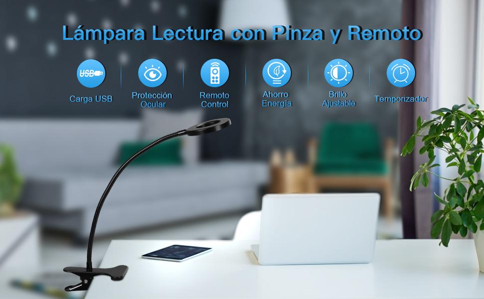 lampara con pinza 360 flexo led escritorio mesa luz lectura nocturna estudio 3 modo brillo ajustable