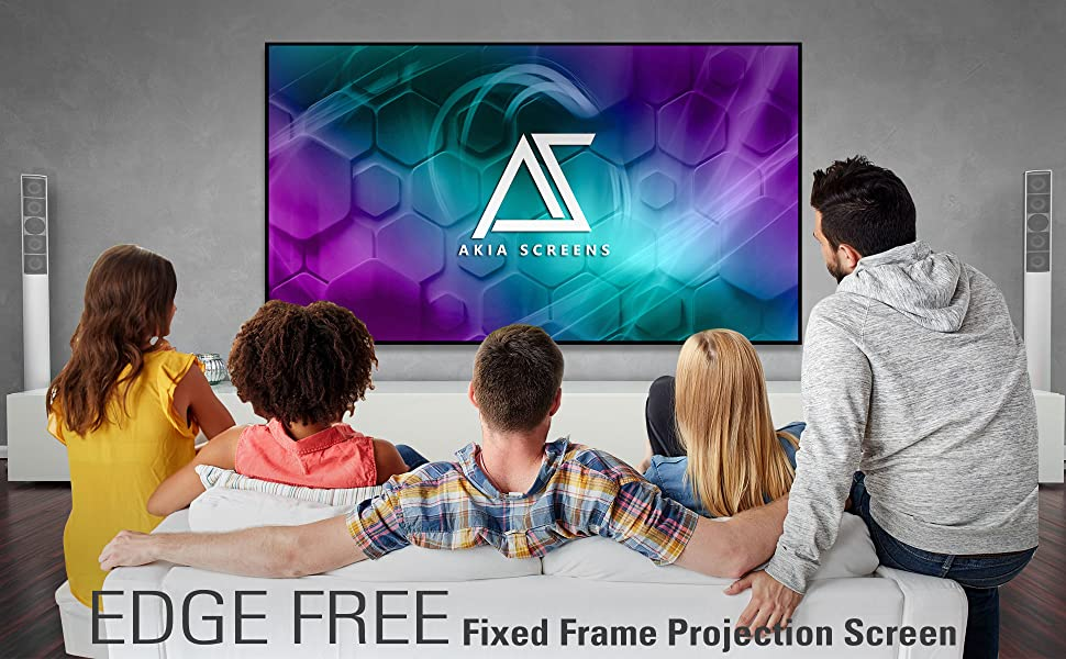 Akia Screens edge free fixed frame projector projection wall hanging screen hd indoor movie screen