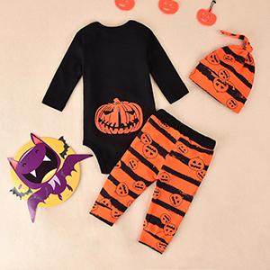 3pcs toddler baby boy halloween clothings sets