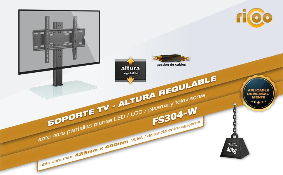 RICOO FS304-W, Soporte TV, Base de pie, Pedestal Suelo, Televisión ...