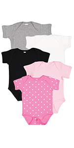 girl bows hats colorblock stripes dots picot onesie