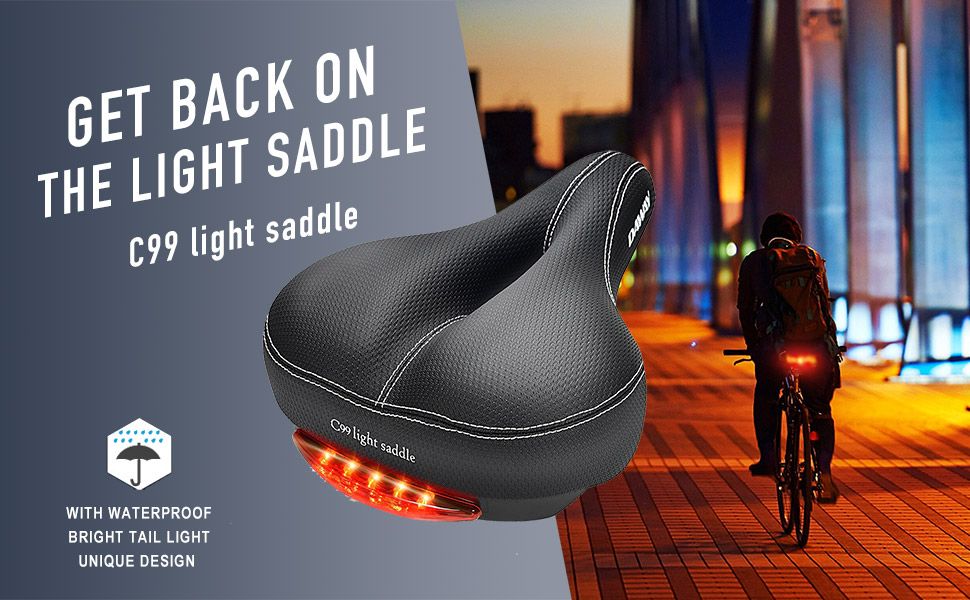 DAWAY C99 Comfortable Bike Seat with Taillight