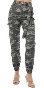amo jogger, denim jogger, belted jogger, camouflage