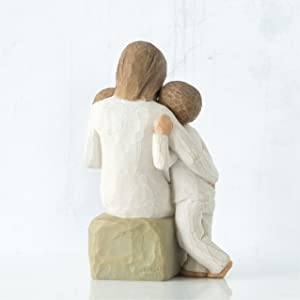 Quietly figure of mother or guardian with children, back