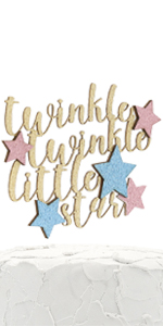 gold twinkle twinkle little star cake topper with pink and blue stars