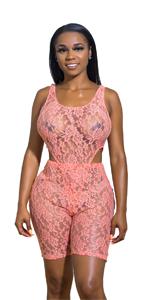 Sexy Lace Bodysuit 2 Piece Outfit Sets