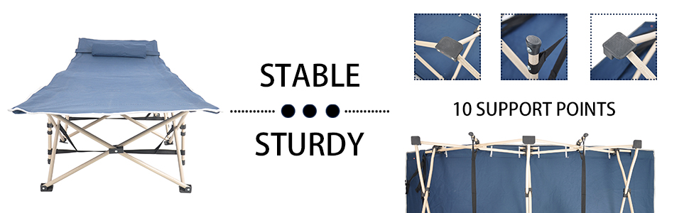 STURDY AND STABLE CAMP COT