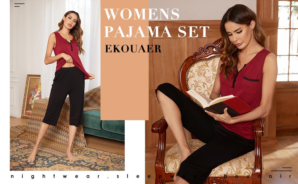 Ekouaer Womens Cute Patchwork Pajama Set Sleepwear Pleated Tank Tops with Capri Pants Pajamas Pants Sets Wine Red M