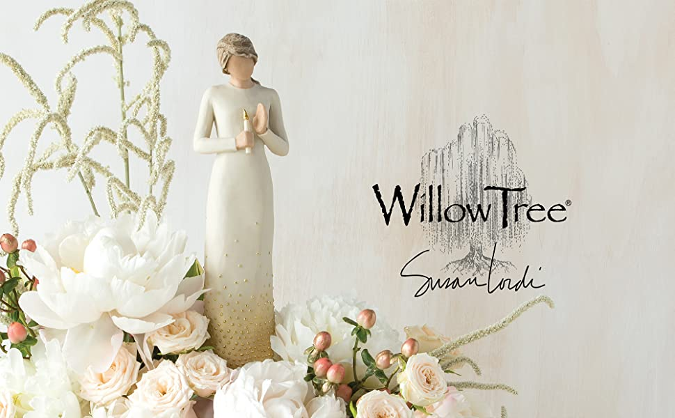 Willow Tree Vigil, standing figure holding gold-leaf candle in her hands.