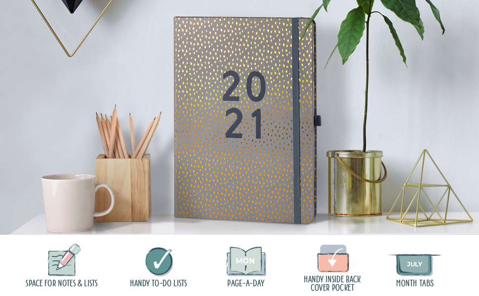2021 diary daily planner page a day a4 to do lists crucial tasks hardcover organisation appointments