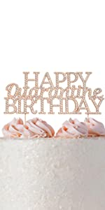 rose gold happy birthday cake topper