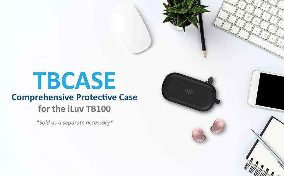 iLuv TB100 TB200 True Wireless Earbuds In-Ear Cordless Microphone Protection Zipper Carabiner Case