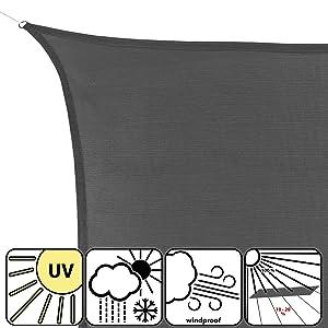 BB Sport Voile Dombrage Toile 3m x 5m /Émeraude Rectangulaire Quadratique PE HD Taud Soleil Protection des Rayons UV /à 90/% Voile Solaire