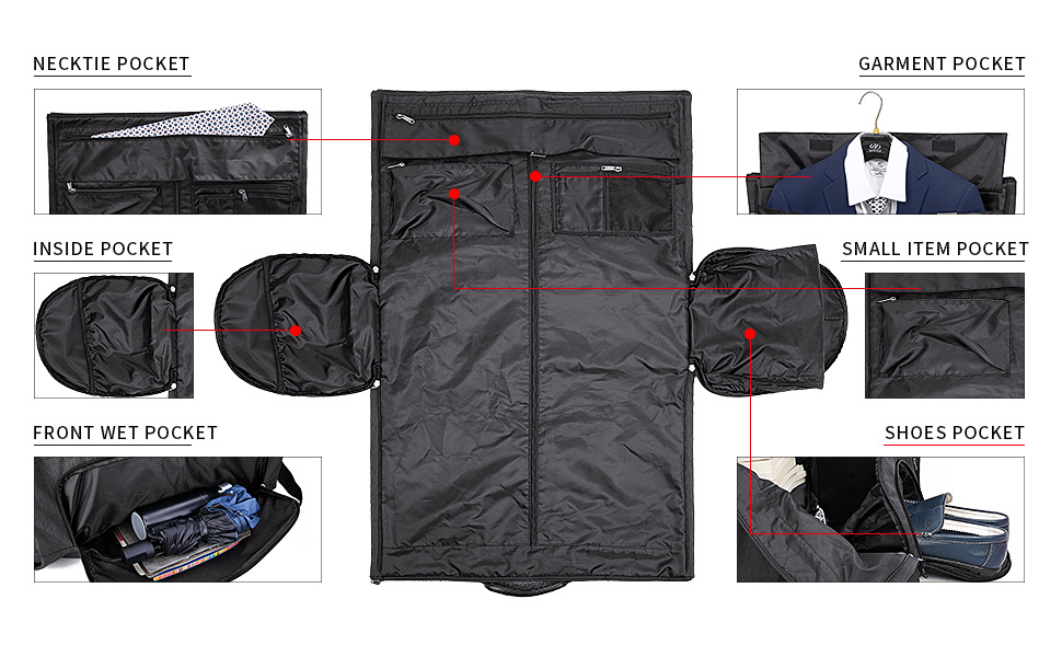 well-organized suit garment bag